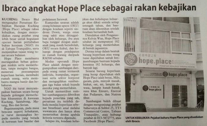 Hope Place, as Ibraco's new charity partner