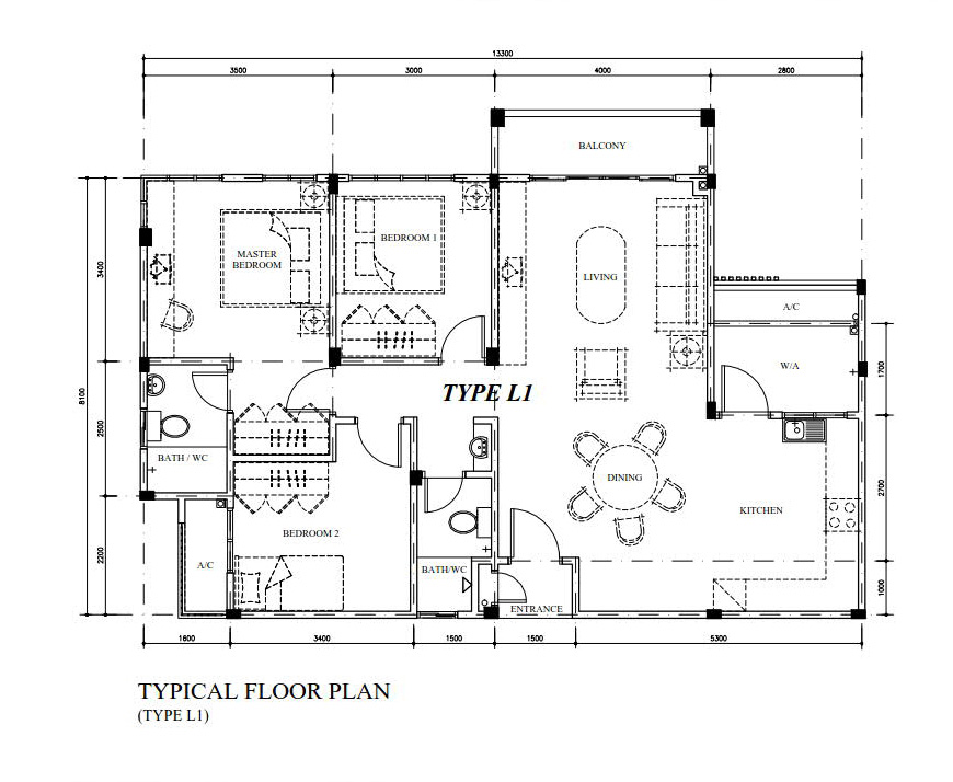 Typical Floor Plan Type L1