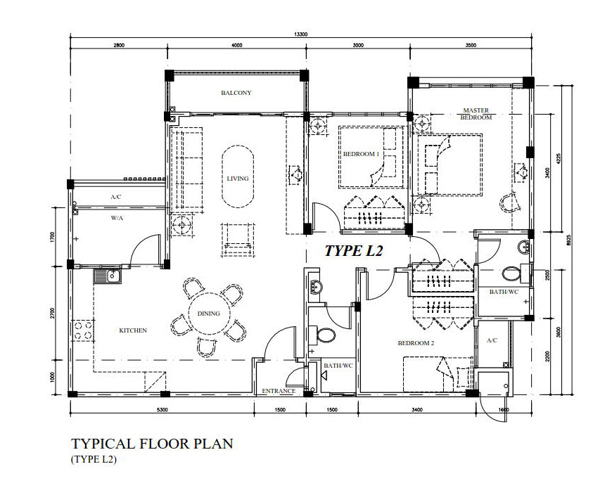 Typical Floor Plan Type L2