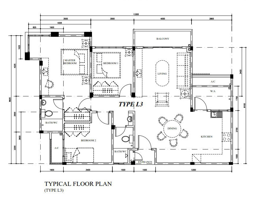 Typical Floor Plan Type L3